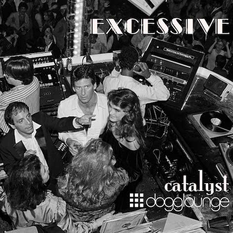 Black and white photo of Studio 54 DJ booth with famous party goers in booth